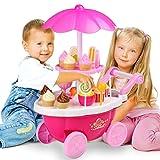 SummerRio Eiswagen Spielzeug, Kinder Trolley Wagen Süßigkeiten Ice-Cream Dessert Spiel DIY Lernspielzeug mit Musik Licht