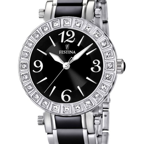 Festina Women's Quartz Watch with Black Dial Analogue Display and Black Stainless Steel Bracelet F16643/2