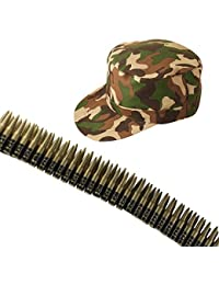 Army Camouflage Cap/Hat And Bullet Belt Fancy Dress Accessory Set