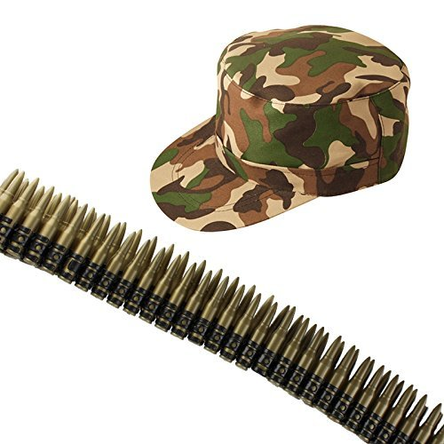 (Army Camouflage Cap/Hat And Bullet Belt Fancy Dress Accessory Set)