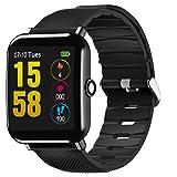 LCLrute OUKITEL Smart Watch Bluetooth Fitness Uhr - Wasserdichte Touchscreen, TF2 1,3 Zoll HD, Schrittzähler, Herzfrequenz und Schlaf-Monitor Sport Smart Armband für IOS/Android (Schwarz)