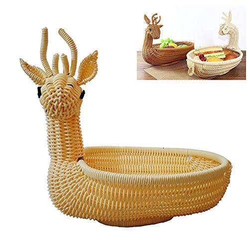 1pc Neuheit Weihnachten Elk Design Brot-Korb Handmade Wicker Brotkorb Obst Gemüse Serving Korb Oval Woven Servieren Speicher-Korb für Küche Hauptdekoration (Beige) (Oval-speicher-körbe)