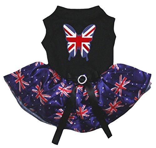 petitebelle Puppy Kleidung Kleid Schmetterling Schwarz Top UK Großbritannien Flagge Blau Tutu (Blau-kleidung Union)