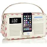 VQ Retro Mk II DAB/DAB+ Digital- und FM-Radio mit Bluetooth, Apple Lightning Dock und Weckfunktion - Emma Bridgewater Rose & Biene