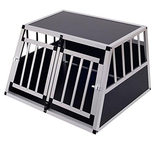 Homcom Cage de Transport pour Chien en Aluminium XL Noir 89 x69x50 cm