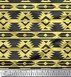 Soimoi Gelb Viskose Chiffon Stoff Ikat geometrisch Stoff