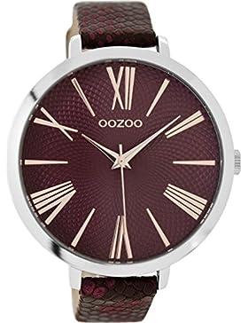 Oozoo Damenuhr mit Lederband 48 MM Weinrot/Weinrot C9171