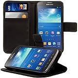 kwmobile Housse en cuir synthétique élégante pour Samsung Galaxy S4 Active i9295 avec fermeture aimantée et fonction support en noir