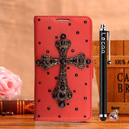 Locaa(TM) Pour Apple IPhone 7 Plus IPhone7+ (5.5 inch) 3D Bling Case Coque Love Cuir Qualité Housse Chocs Étui Couverture Protection Cover Shell Phone Avec Nous [Couleur 3] Bowknot 2 - Noir Croix - Rouge