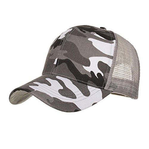 Camouflage Mesh-hut (Fuibo Kappe für Herren und Damen, Camouflage Sommer Cap Mesh Hüte für Männer Frauen Casual Hüte Hip Hop Baseball Caps  Basecap, Baseball Cap, verstellbar (Grau))