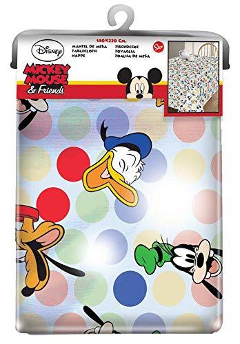 Mickey Mouse, tovaglia in Tela Cerata, 1,4 x 1,4 m, Motivo: Friends One And Only, Multicolore, Unica