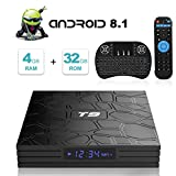 Android TV Box, T9 Android 8.1 TV Box con Mini Teclado inalámbrico 4GB RAM 32GB ROM RK3328 Bluetooth 4.1 Procesador Quad-Core Cortex-A53 2.4GHz WiFi Compatible con 4k2k Ultra H.265 Smart TV Box