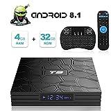 Android TV Box, T9 Android 8.1 TV Box con Mini Teclado inalámbrico 4GB RAM 32GB ROM RK3328 Bluetooth 4.1 Procesador Quad-Core Cortex-A53 2.4GHz WiFi Compatible con 4k2k Ultra H.265 Smart TV Box