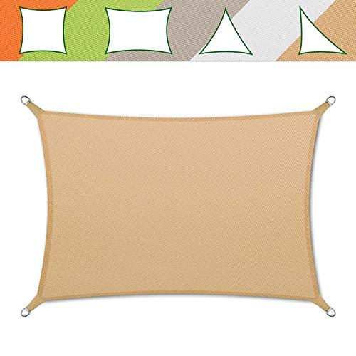 casa pura® Sonnensegel wasserabweisend imprägniert | Testnote 1.4 | Rechteck | UV Schutz Größen (Sandfarben, 5x7m)