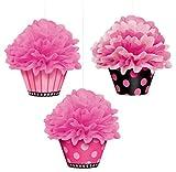 Amscan 180007 - Hängedekoration, Pom Pom Cupcake, 3 Stück, ca. 26 cm, rosa