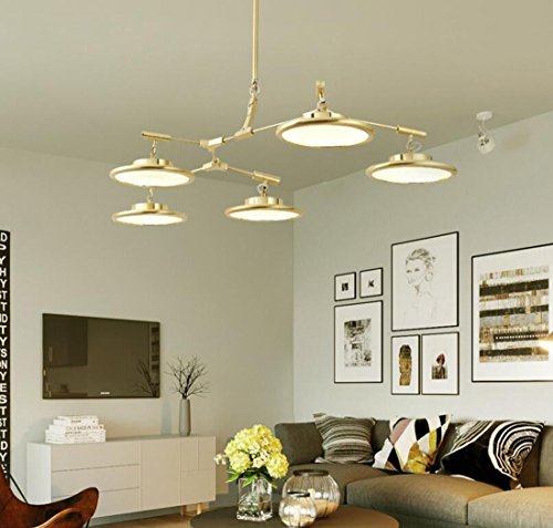 Ydxwan Led Nordic Modern Kronleuchter Zweig UFO Kronleuchter Wohn- / Esszimmer Schlafzimmer High-End-Golden LED Deckenleuchte (Color : Warm Light, Style : 5 Heads) -