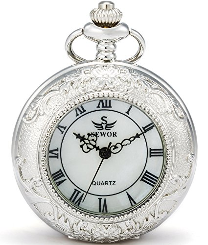SEWOR Magnifier Japanese Quartz Movement Pocket Watch with Fashion Double Chain (Metal & Leather) (Silver)