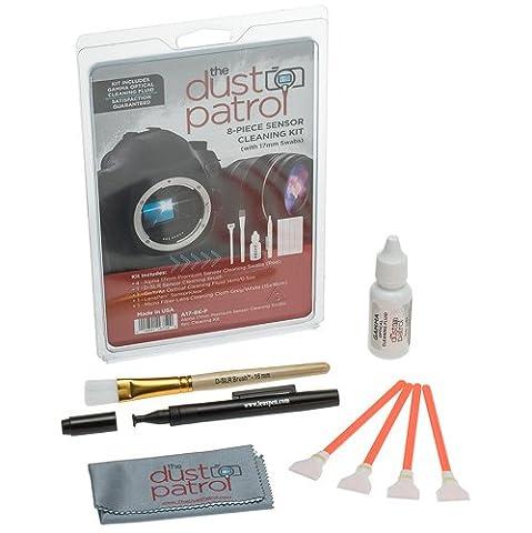The Dust Patrol Alpha 17mm Premium Sensor Swab Écouvillons pour nettoyage du capteur - kit de 8 pièces (Rouge) avec The Dust Patrol Gamma bouteille de fluide de nettoyage (14ml./0.5oz)