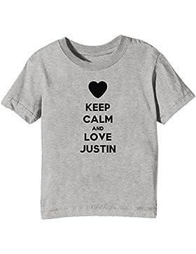 Keep Calm And Love Justin Bambini Unisex Ragazzi Ragazze T-Shirt Maglietta Grigio Maniche Corte Tutti Dimensioni...