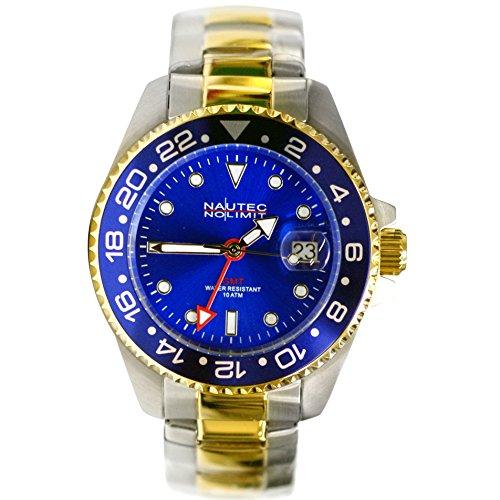 Nautec No Limit Herren-Armbanduhr Jackfish Analog GMT Edelstahl beschichtet JKFS-QZ-GMT-STGDSTGDBLBL