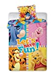 Winnie The Pooh avec Porcinet Tigrou Bourriquet parure de lit 100% Coton housse de couette 160x200 + TAIE 70x80 Idée Déco
