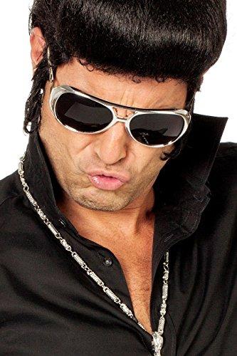 Brille Elvis Presley 50er Jahre 50s King of Rock Rock'n'Roll Las Vegas Einheitsgröße Silber