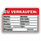 AUTO ZU VERKAUFEN - Verkaufsschild - SCHILD / D-033 (30x20cm Aufkleber)