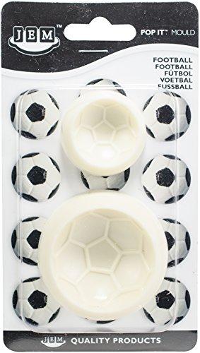 PME 1102EP009 JEM Pop It-Motivform Fußball zum Dekorieren von Torten, Sortiment 2 kleine Größen, Kunststoff, Ivory, 6 x 2 x 6 cm