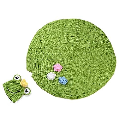 Kinder Baby Strick Mütze Fotoshooting Neugeborene Frosch Muster Design Hut Kostüm Hütengen-Baby-Fotografie Prop Crochet Strickhandgemachte Hut Cape (Frosch-kostüm Muster Kind)