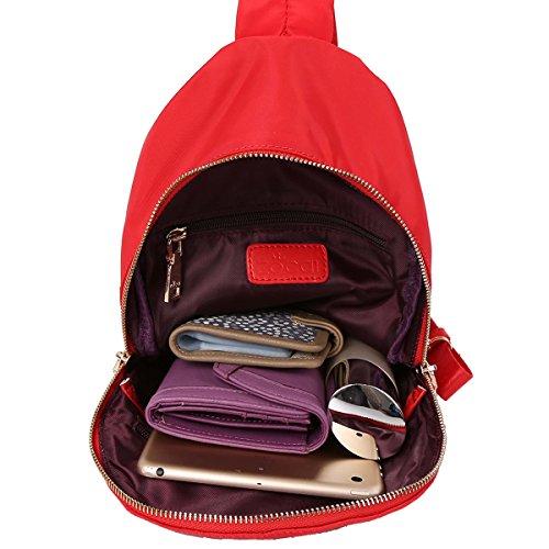 ZOCAI Piccolo Formato Tessuto Zaino Unisex Zaino in Nylon K15647 Rosso