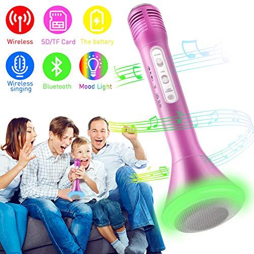 Bluetooth Karaoke Mikrofon, Portable Drahtlose Handmikrofon Lautsprecher Player Kabellos Mikrofon, Mikrofon Kinder für KTV Musik singen spielen, Unterstützung iPhone Android IOS Smartphone - (Rosa)