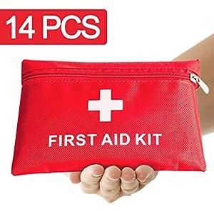 Erste Hilfe Set,14 Stück in Roter Halbharte Tasche, Mini First Aid Kit für Notfälle in der Familie – Ideal für Zuhause…