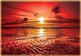 Tapeto Fototapete - Sonnenuntergang Strand - Vlies 254 x 184 cm (Breite x Höhe) - Wandbild Sand Wolken Natur