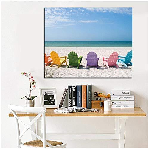 Juabc Ozean Und Blauer Himmel Seelandschaft Leinwand Malerei Strandkorb Druck Auf Leinwand, Kunst Bild Wandmalerei Für Wohnzimmer Dekoration 50X70 cm Kein Rahmen