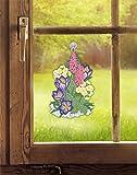 Plauener Spitze Fensterbild FRÜHLINGSBLUMEN (BxH) 18 x 30 cm inkl. Saughaken Fensterdeko