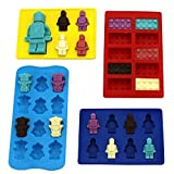 Zicome Set of 4 Candy Molds and Ice Cube Trays - Lego Building Bricks and Figure Molds for Lego Lovers