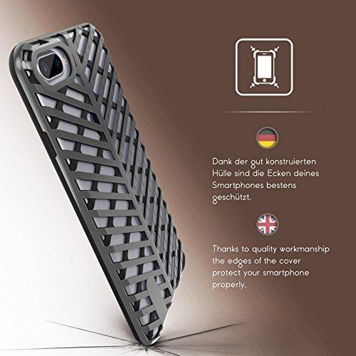 Urcover® Apple iPhone 7 Plus / 8 Plus Schutzhülle Sword Series Back-Cas Cover Gitter Schale Smartphone Schwarz / Silber Schwarz / Schwarz