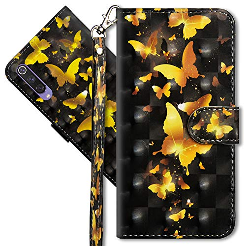 MRSTER Xiaomi Mi 9 SE Case Wallet Folio Flip Premium PU Leather Cover with Wrist Strap 3D Creative Painted Design Full-Body Protective Cover for Xiaomi Mi 9 SE. YX 3D - Golden Butterfly