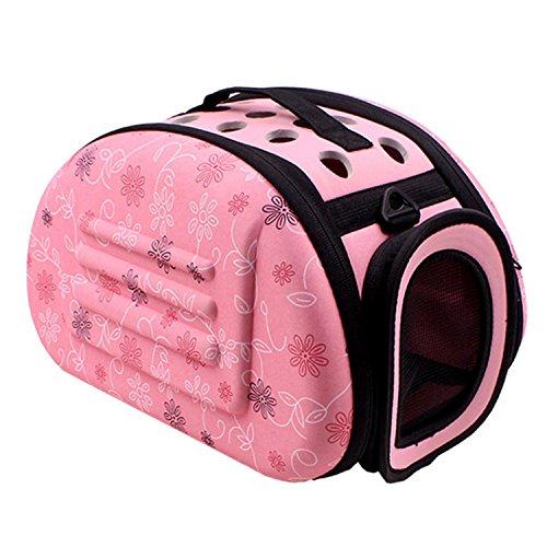 Transportin gato, bolsas perro, Viaje al aire libre Portátil Plegable Lindo Suave Pet Carrier Cage Bag Kennel con Almohadilla antideslizante para Cachorro Pequeño Pet Cat Gato Tamaño(Rosa,S-35 x 20 x 20cm)