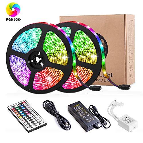 LED Streifen,Targherle 10M LED Bänder 5050 SMD 300 LEDs IP65 Wasserdicht RGB LED Stripes mit 44Key Fernbedienung und Netzteil für Decke Bar Schrank Terrasse Balkon Party und Haus Deko