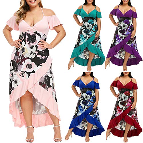 VJGOAL Kleider Damen Lang Elegant Große Größen V Ausschnitt Ärmellos Unregelmäßig Party Maxi Dresses for Women