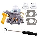 Poweka Carburateur & Joints C1U-H60 308054013 308054012 308054004 308054008 et 2 Pompes d'Amorçage pour Coupe-bordure Débroussailleuse 25cc 26cc 30cc Ryobi Homelite
