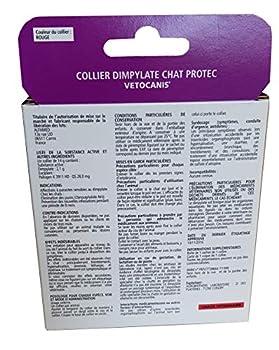 VETOCANIS Collier Anti-puces et Anti-tiques, au Dimpylate pour chat, 8 MOIS de protection, Coloris rouge