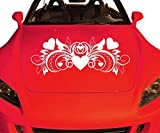 Autoaufkleber Herz Blumenranke, Auto Liebe Tattoo Ornament Retro Sticker 2K040_1, Farbe:Weiß Matt;Breite vom Motiv:100cm