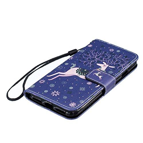 EUWLY Case Cover per iPhone 6 Plus/iPhone 6s Plus (5.5),Ultra Slim Sottile Custodia Protettiva Portafoglio pelle PU Case Lusso Flip Stand Slot Funzione di Supporto Leather Wallet Case per iPhone 6 Pl Sika Cervo