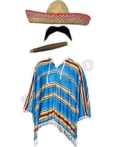 Kostüm Sombrero - Kostüm Mexikanischer Bandit - für Herren - Poncho, Sombrero, Schnurrbart & Zigarre