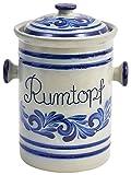 vivApollo Rumtopf Keramik Original westerwälder Kannenbäckerland salzglasierte Steinzeug Gärtopf Konservierung von Früchten in Alkohol Mehrzwecktopf Keramik Topf geblaut grau blau