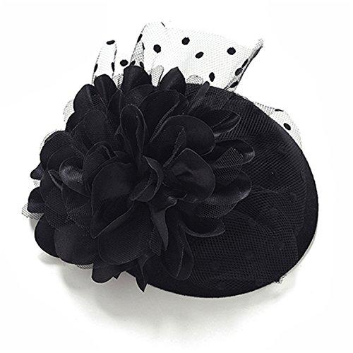 (Comradesn Baskenmützen & Barette Damen Blume Top Hut Haar Clip Party Cocktail Hut mit Rose Dot Headwear Lace Fascinator Cap Haarnadeln schwarz)