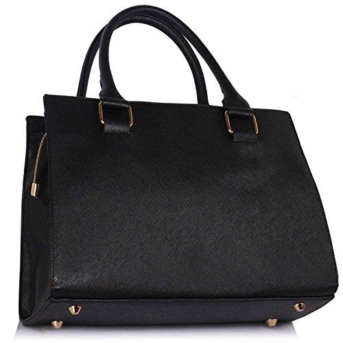 LeahWard® Damen Tragetaschen Damen Mode Essener Patent Bogen greifen Tasche Berühmtheit Qualität Kunstleder Mit langem Bügel Handtaschen CWS00374A CWS00258 Schwarz Bogen Taschen
