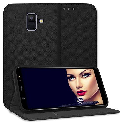 mtb more energy Schutz-Tasche Bookstyle für Samsung Galaxy A6 2018 (SM-A600F, 5.6'') | Schwarz | Kunstleder | Klapp-Cover Hülle Case